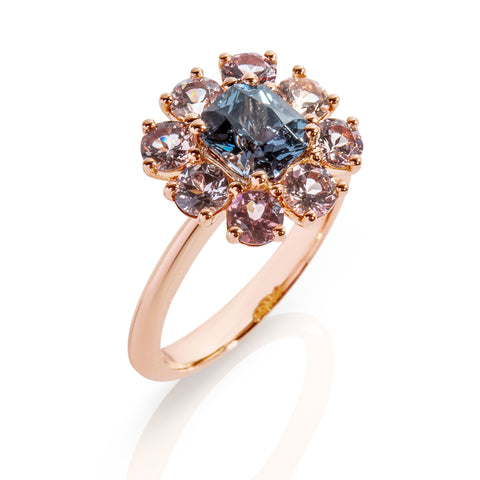 Blue Spinel with champagne garnets