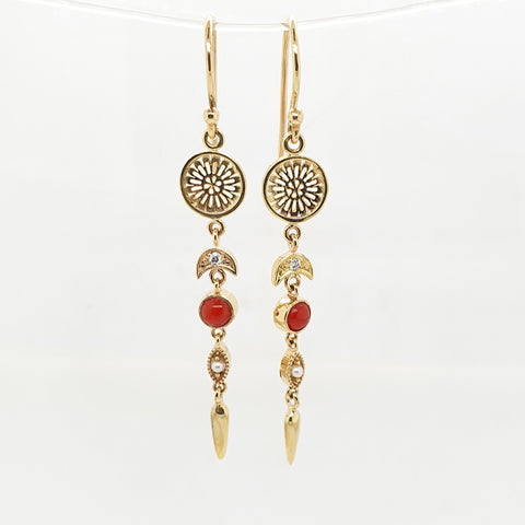 Dream Catcher Diamond Moon drop  hook earrings