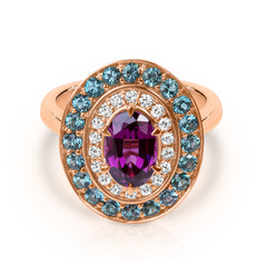 Rhodolite garnet with diamonds & blue tourmalines.