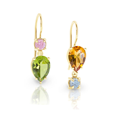 Gemstone earrings, peridot earrings, citrine earrings