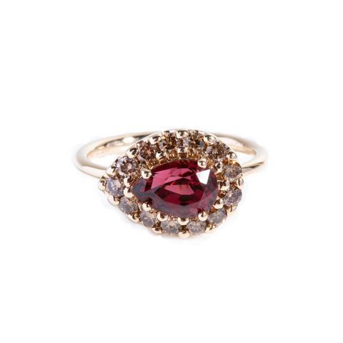 Pear Rhodolite Garnet with Champagne diamonds