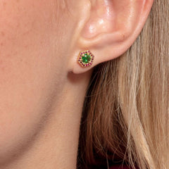 EAR STUDS HEXAGON, GREEN