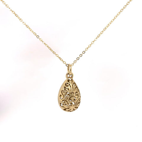 Tear drop gold Filagree Pendant