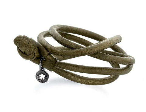 Ole Lynggaard Leather Bracelet - Olive