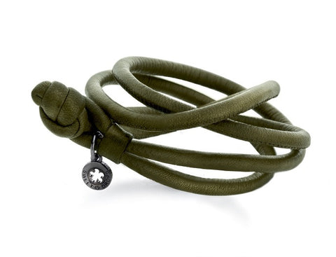 Ole Lynggaard Leather Bracelet - Army Green