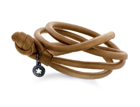 Ole Lynggaard Leather Bracelet - Camel