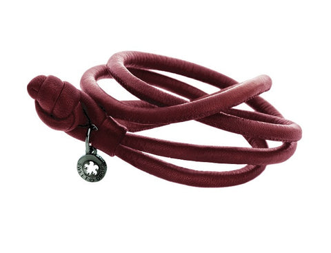 Ole Lynggaard Leather Bracelet - Red Wine