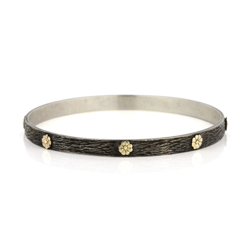Zayliya 5.5mm flat bangle with 9ct gold flower embellishments