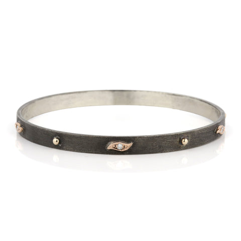 Zayliya flat 5.5mm bangle with 9ct dots and tear drops with diamonds embellishments