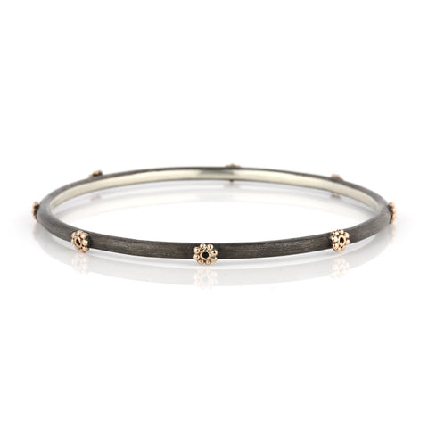 Zayliya 3mm round bangle and 9ct gold embellishments