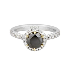 Black diamond halo engagement ring.