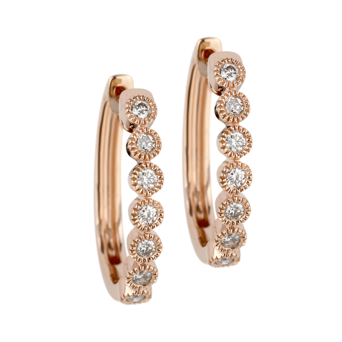 Diamond hoop Earrings - Round setting