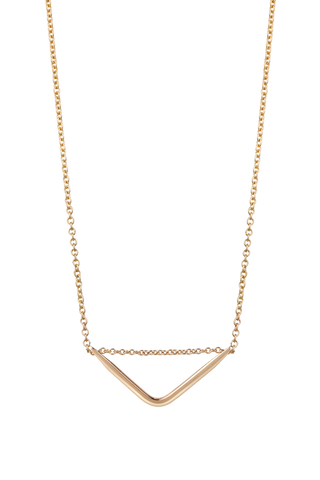 Triangle bar small 9ct gold 42cm necklet