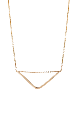 Triangle bar large 9ct gold 45cm necklet