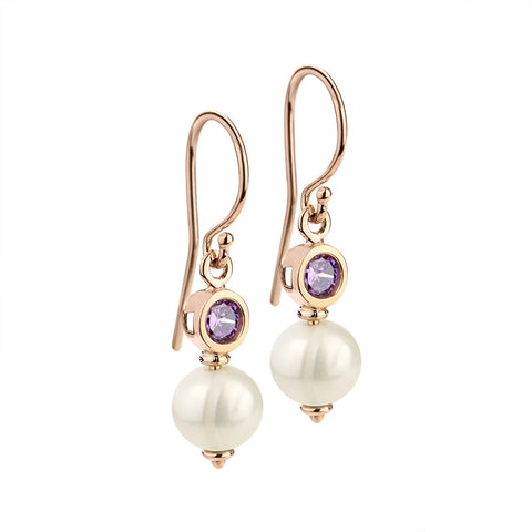 Amethyst and pearl rose gold hook earrings
