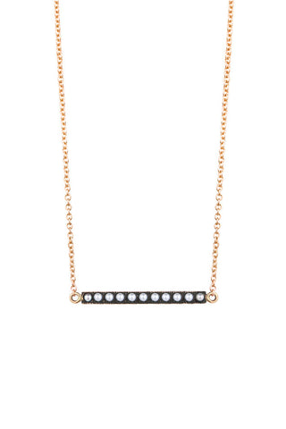 Pearl bar 9ct gold necklet 45cm