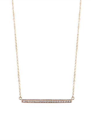 White diamond 9ct gold bar 45cm necklet
