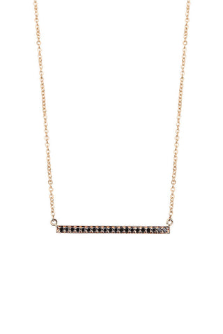 Black diamond 9ct gold bar 45cm necklet