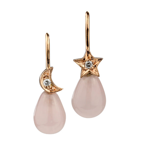 Moon and star rose quartz 9ct rose gold hook earrings