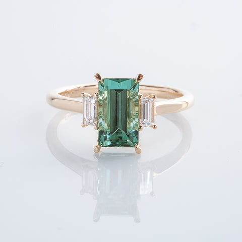 Emerald Cut Lagoon Tourmaline with diamond baguettes
