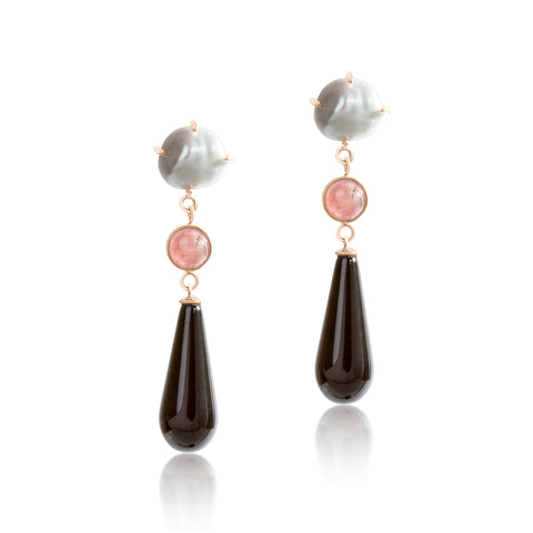 Keshi Pearl, pink quartz with onyx drop