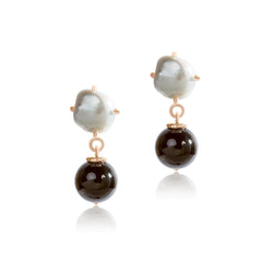 Keshi Pearl  with round onyx drop