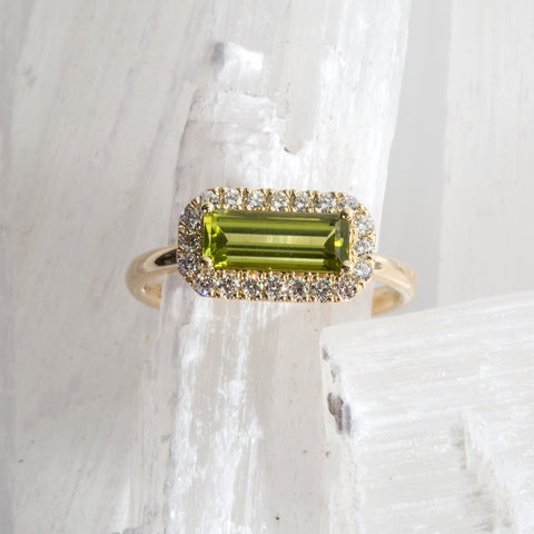 Peridot diamond halo ring