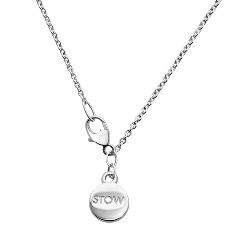 Stow Locket Silver Chain with branding token