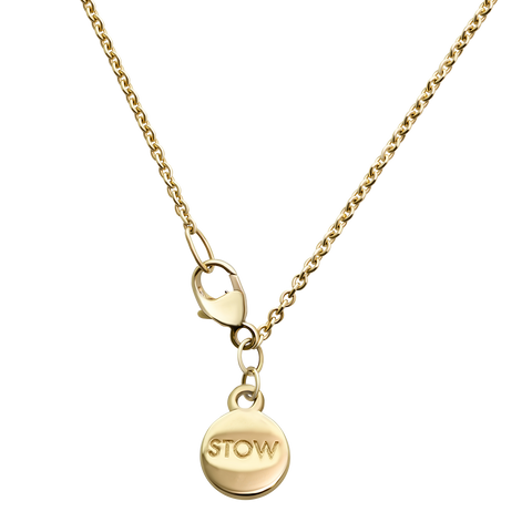 Stow Locket Gold Chain with branding token