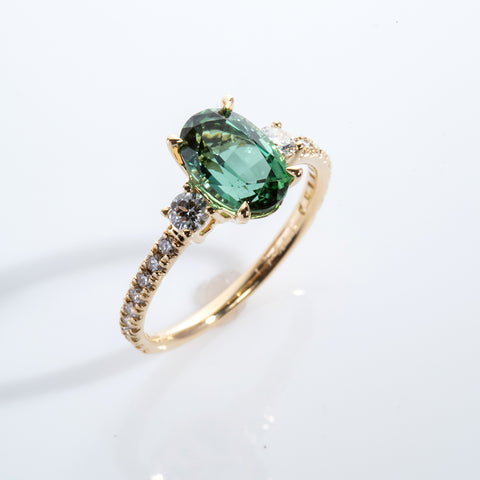 Oval Tourmaline and diamond ring