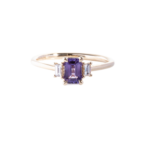 Emerald Cut Purple Sapphire with diamond baguettes