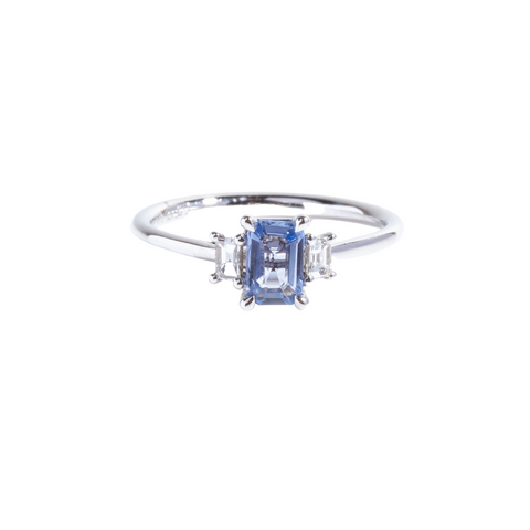 Emerald cut Blue Sapphire with diamond baguettes