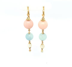 Pink Opal, aquamarine & pearl earrings