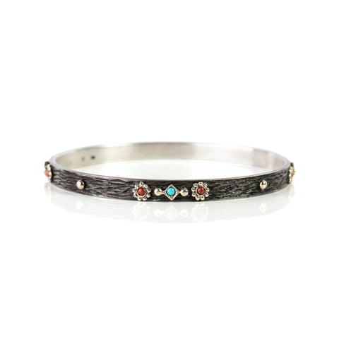Zayliya flat 5.5mm bangle with 9ct gold and turquoise and coral embellishments