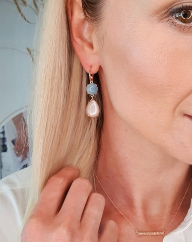 Aquamarine & blush moonstone hook earrings