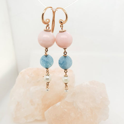 Pink Opal, Angelite & Pearl drop hook earrings