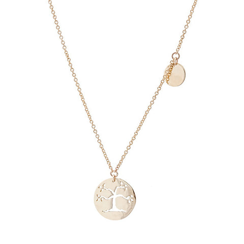 Family tree 9ct gold 45cm necklet with 7mm disc