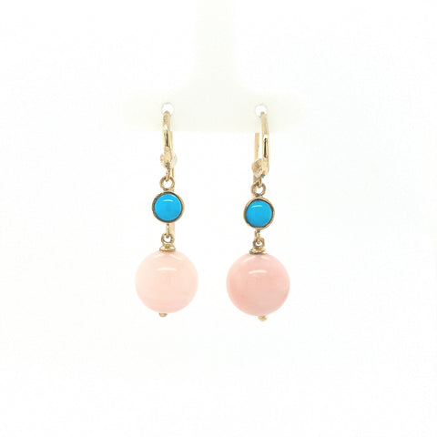 Pink Opal & Turquoise hook earrings