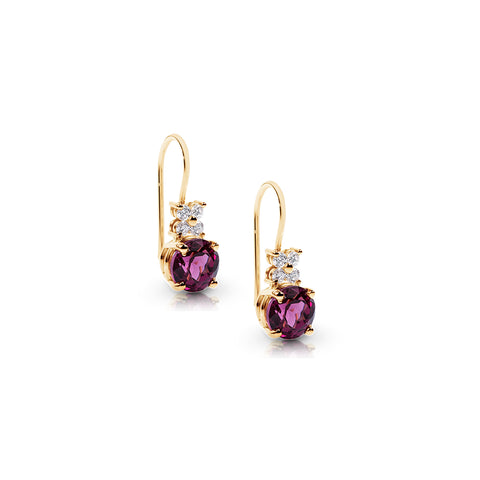 Diamond & Rhodalite hook Earrings