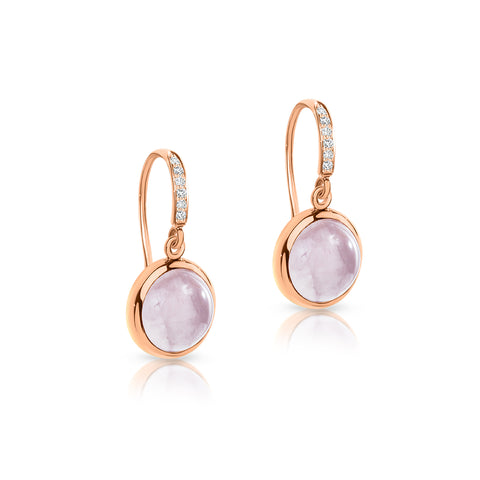 Rose Quartz & diamond earrings