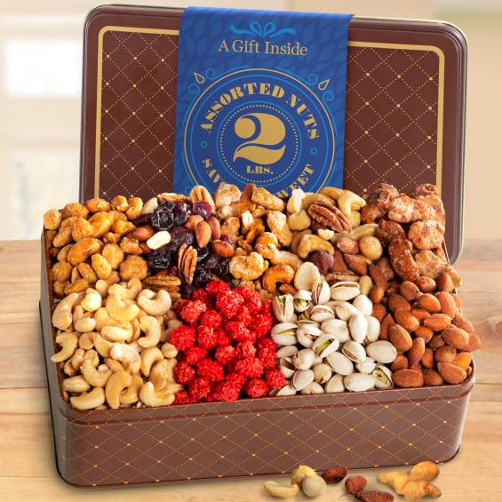NUTS! 2 LB Nut Assortment Gift Tin - CFG4400_20N