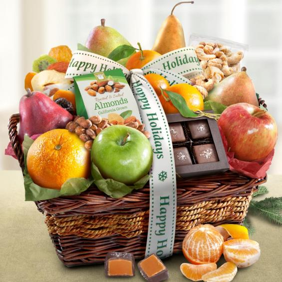 Happy Holidays Orchard Delight Fruit & Gourmet Basket - CF4094H_19