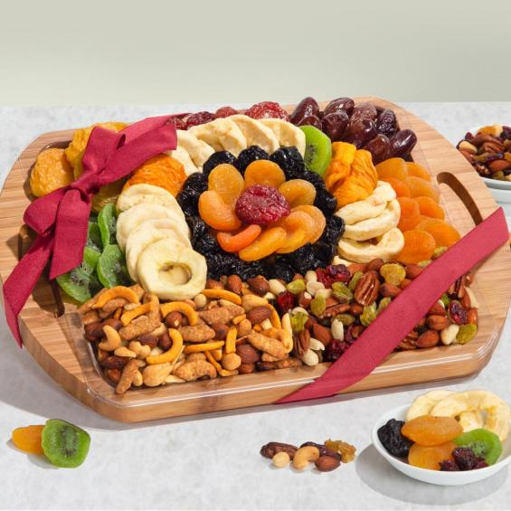 Bamboo Cutting Board & Serving Tray Covered With Snacks - CFG8076_20