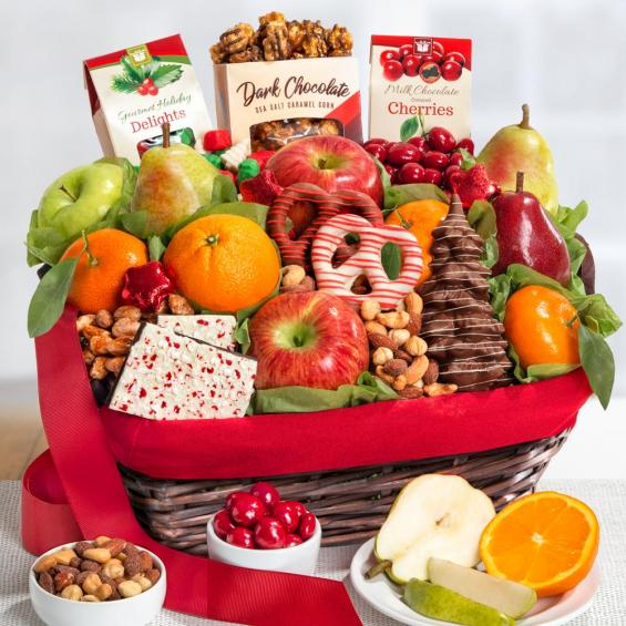 Holiday Chocolate, Nuts and Fresh Fruit Gift Basket - CFH4048_18