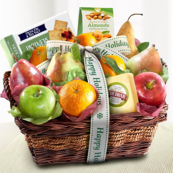 Happy Holidays Fruit & Gourmet Basket - CFP8019H_19