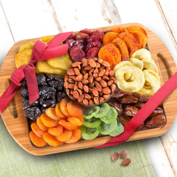 Bamboo Cutting Board Serving Tray with Dried Fruit Assortment and Almonds - CFG8075