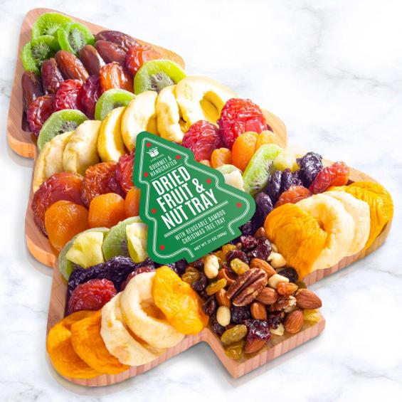 Christmas Tree shaped cutting board filled with fruit and nuts - CFG8090_20N