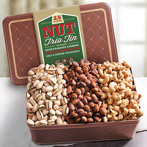 NUTS! 2.5 LB Smoky, Savory, and Sweet Nut Gift Tin - CFG4405