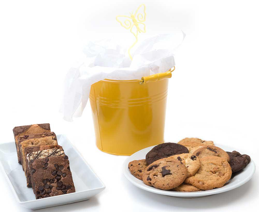 Cheerful bucket of brownies and cookies - CFD00299
