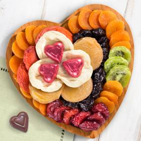 Chocolate and Dried Fruit on Heart Bamboo Serving Tray - CFG8032